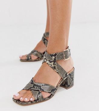 London Rebel wide fit block heel sandals in snake