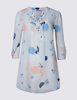 M&S Collection PETITE Abstract Print Embellished Top