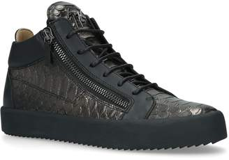 Giuseppe Zanotti Croc-Embossed Leather Mid-Top Sneakers
