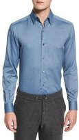 Ermenegildo Zegna Baby Flannel Long-Sleeve Sport Shirt, Dark Blue