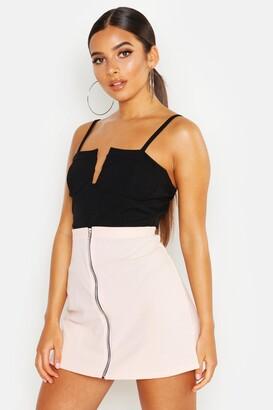 boohoo Zip Through A Line Mini Skirt