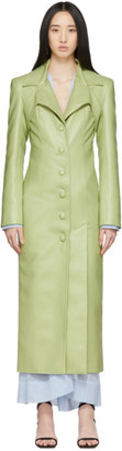 Materiel Tbilisi Green Faux-Leather Tie Coat
