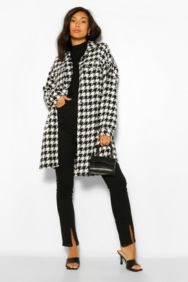 boohoo Super Oversized Wool Look Dogtooth Shacket