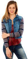 Juniors' Wallflower Striped-Sleeve Denim Jacket