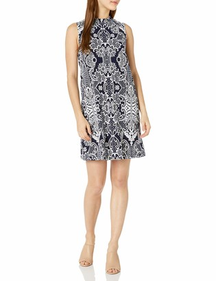 Tiana B T I A N A B. Women's Petite Puff Print Motif Mock Neck Dress