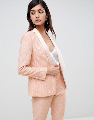 Asos Design DESIGN tailored lace blazer-Pink