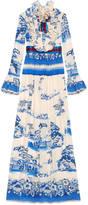 Gucci Porcelain garden print silk gown