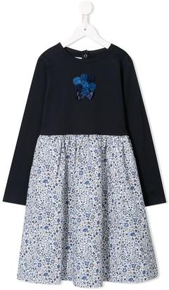 Familiar Floral Print Flared Dress