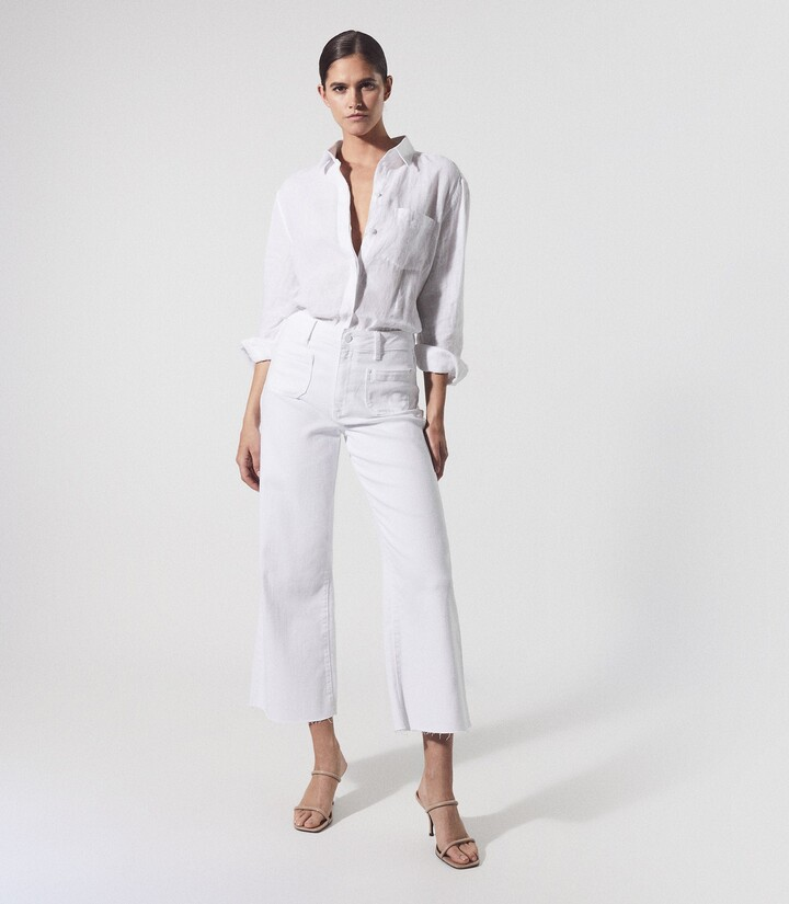 Thumbnail for your product : Reiss Anessa - Paige High Rise Wide Leg Jeans in White