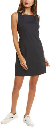 Theory Square Neck Linen-Blend Shift Dress