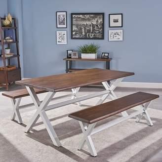 Gracie Oaks Acacia Wood 3 Piece Solid Wood Dining Set Gracie Oaks Table Top Color: Dark Oak