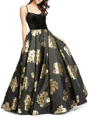 Mac Duggal Floral-Print Velvet Ball Gown