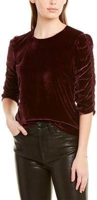 Rebecca Taylor Ruched Velvet Silk-Blend Top