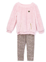 Juicy Couture Pink Ruffle Pullover & Cheetah Leggings - Infant Toddler & Girls