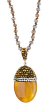 Natasha Accessories Beaded Pave Top Small Pendant Necklace