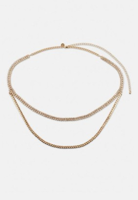 Missguided Diamante And Chain Drape Belt