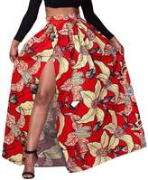 FEOYA Women's African Loose Dress Floral Printed Pleated Split Maxi Skirt High Waist A Line Dress Red Size 8-10