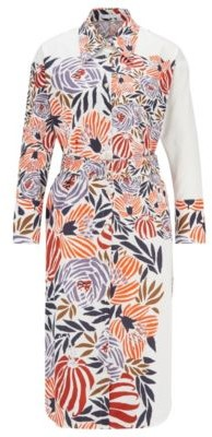 HUGO BOSS Shirt Dress In Pure Cotton With Floral Print - Patterned