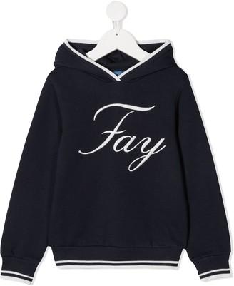 Fay Kids TEEN logo-embroidered hoodie