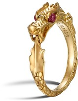 John Hardy 18K Gold Naga Slim Ring with Ruby Eyes