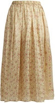 Mes Demoiselles Polka floral-print silk skirt