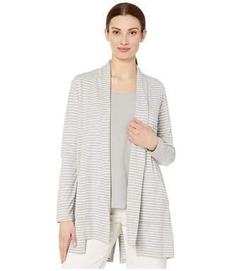 Tribal Long Sleeve Cardigan w/ Back Slit (Grey Mix) Women's Clothing