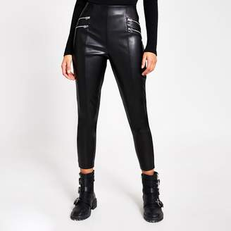 River Island Womens Black faux leather zip front leggings