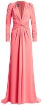 Monique Lhuillier Plunging Twist-Front Gown