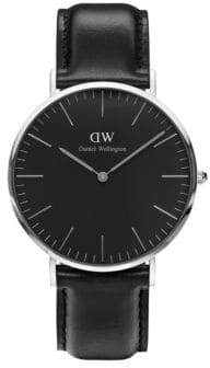 Daniel Wellington Classic Black Sheffield Silver and Leather Strap Watch, 40mm