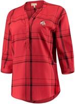 Unbranded Women's Scarlet Ohio State Buckeyes Missy Cotton Plaid Tunic Shirt