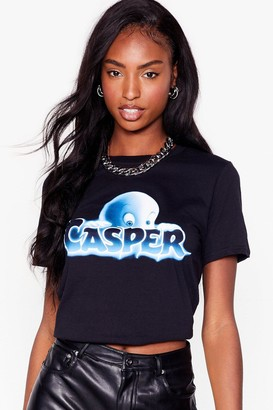 Nasty Gal Womens Casper Cropped Graphic Tee - Black - S