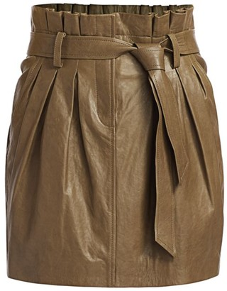 Frame Paperbag Leather Skirt