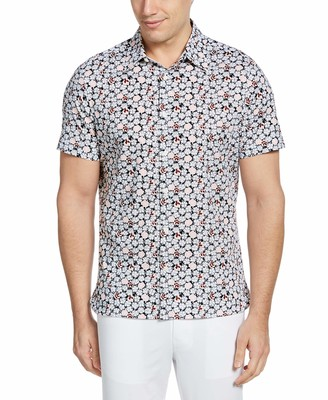 Perry Ellis Men's Big & Tall Floral Print Stretch Short Sleeve Button-Down Shirt
