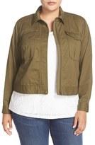 Sejour Plus Size Women's Crop Utility Jacket