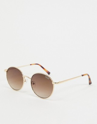 Quay I See You round sunglasses in gold fade