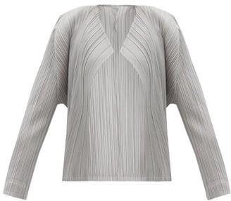 Pleats Please Issey Miyake Technical-pleated Cardigan - Mid Grey