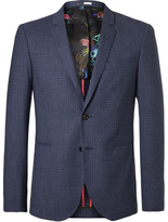 Paul Smith Blue Buggy Slim-Fit Checked Wool Blazer