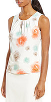 Calvin Klein Petites Tossed Floral Print Matte Jersey Shell