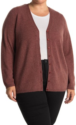 M Magaschoni V-Neck Button Front Cardigan (Plus Size)