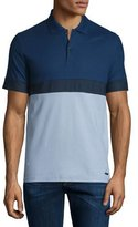 Burberry Modern-Fit Colorblock Short-Sleeve Polo Shirt, Pale Sky Blue/Navy