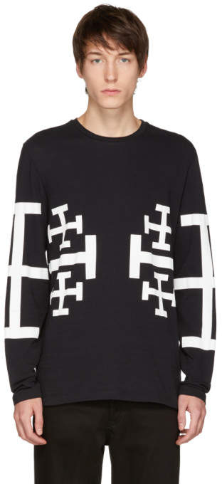 Neil Barrett Black Long Sleeve Jerusalem Cross T-Shirt