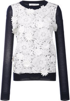 Prabal Gurung cashmere lace front jumper - women - Polyester/Cashmere - S