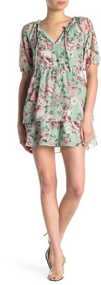 Max & Ash Floral Print Mini Babydoll Dress