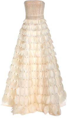J. Mendel Feathered Silk Gown