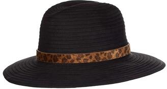 San Diego Hat Company Faux Suede Ribbon Fedora w/ Leopard Band (Black) Fedora Hats