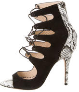 Monique Lhuillier Snakeskin Lace-Up Sandals