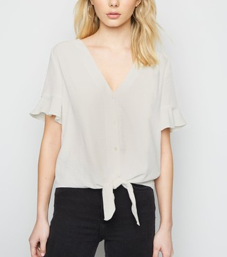 New Look Frill Sleeve Tie Front Blouse