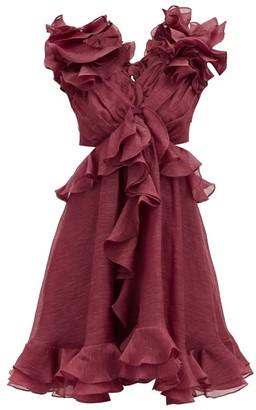 Zimmermann Ladybeetle Ruffled Linen-blend Dress - Burgundy