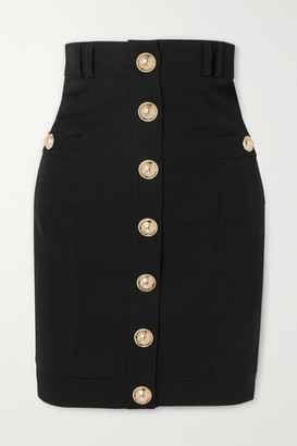 Balmain Button-embellished Wool-twill Skirt - Black
