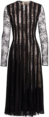 Oscar de la Renta Long-Sleeve Lace Pintuck Dress